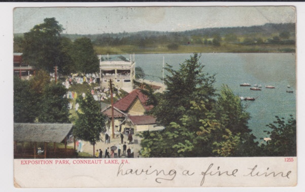 Conneaut Lake Park 1906 Aerial View of Docks and LakeExposition Parks, Lakes Parks, Parks 1906
