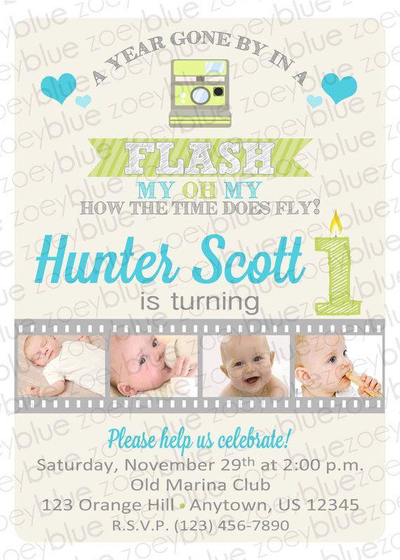 One Year in a Flash Boy Birthday Invitation Boy by ZoeyBlueDesigns