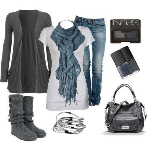 casual grey and blue