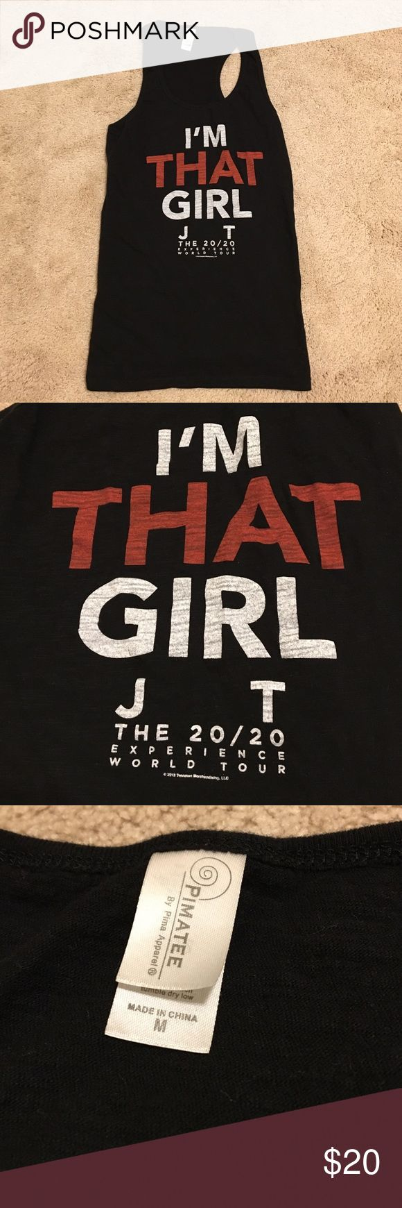 I'm that Girl Justin Timberlake Tank Black tank top from Justin Timberlake's The 20/20 Experience World Tour. I'm that girl. Size medium. Tops Tank Tops