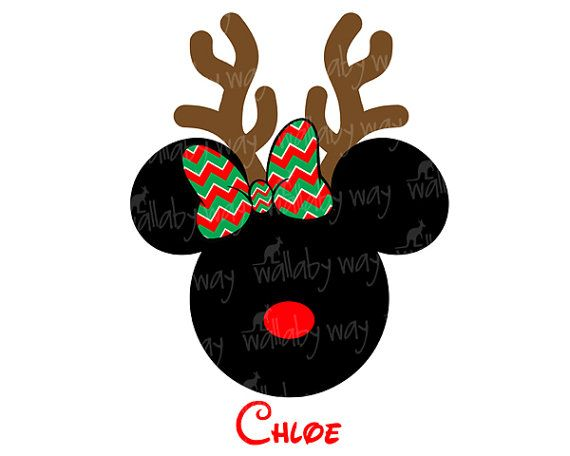 Disney Christmas Minnie Reindeer Chevron Bow Printable Iron On or use as Disney Clip art by TheWallabyWay - Perfect for Mickey's Very Merry Christmas Party - DIY Disney Shirt