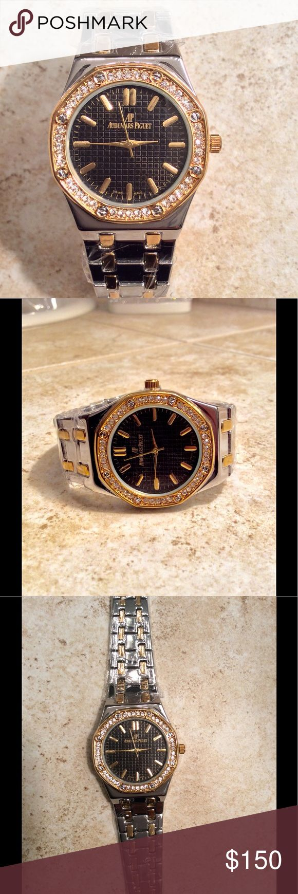 Audemars Piguet AP Watch New Audemars Piguet AP Ladies Watch For Sale! Beautiful Two Tone Silver & Gold Plated With Diamond Bezel and Black Dial. Accessories Watches