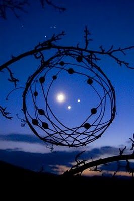 Jupiter, Venus and the New Moon in a stem planetcatcherSky Stars, Nature, Moon, Art, Colors Blue, New Moon, Blue Moon, Moon Venus, The Moon