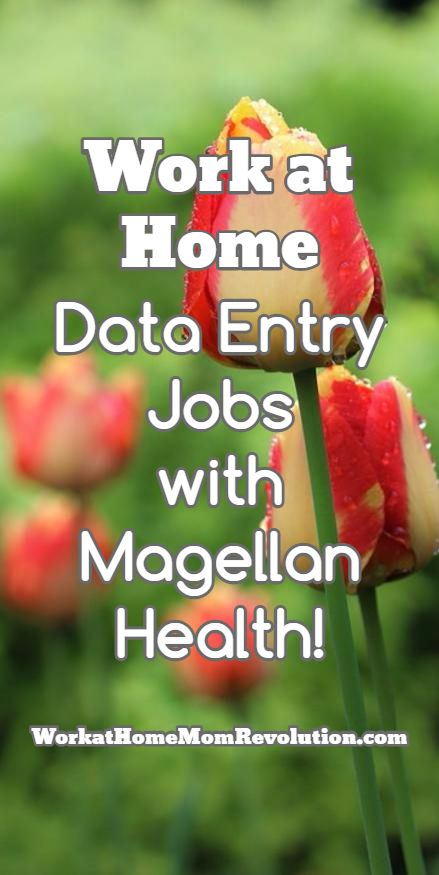 Work at Home Data Entry Jobs  with Magellan Health! Magellan Health is hiring work at home data entry agents in the U.S. These full-time work from home positions are available anywhere in the U.S. You must have a bachelor's degree to qualify for these telecommute job opps. WorkatHomeMomRevolution.com