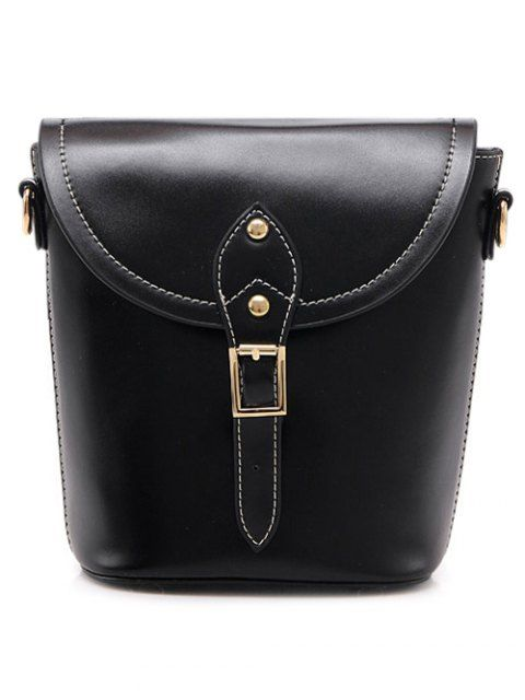 Vintage Buckle PU Leather Crossbody Bag - BLACK