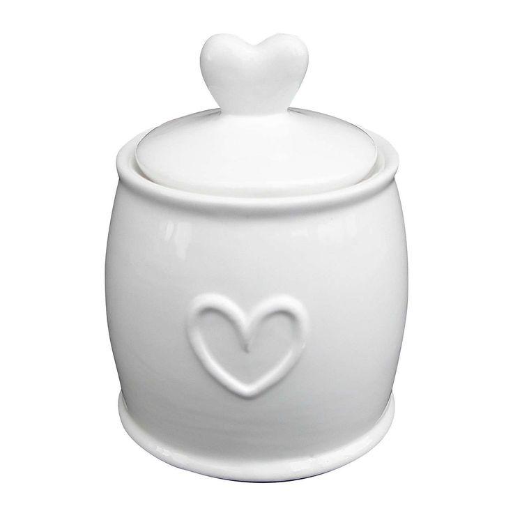 Country White Heart Sugar Pot