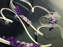 Dekorace na svatební auto srdce z ratanu fialové