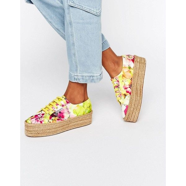 Superga 2790 Espadrille Flatform Trainer ($54) ❤ liked on Polyvore featuring shoes, sneakers, multi, floral sneakers, flatform espadrilles, floral print shoes, superga sneakers and lace up shoes