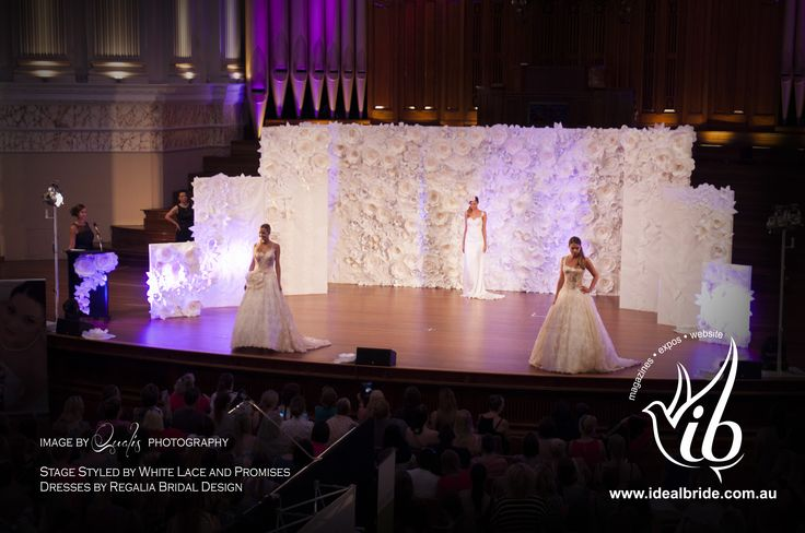 Ideal Bride Wedding Expo. Stage styled by White Lace and Promises and Dresses by Regalia Bridal Design.
