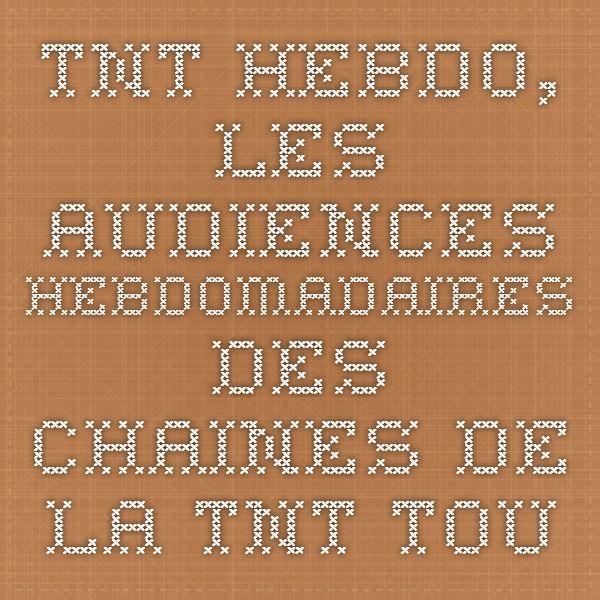 TNT Hebdo, les audiences hebdomadaires des chaines de la TNT - Toutelatele