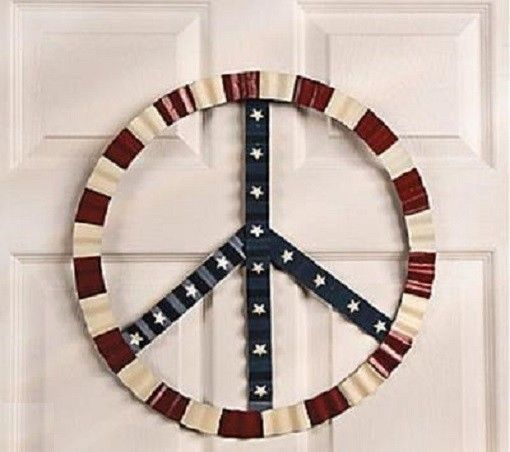 Peace Sign Wall Decor Metal : Groovy patriotic th of july peace sign metal wall decor