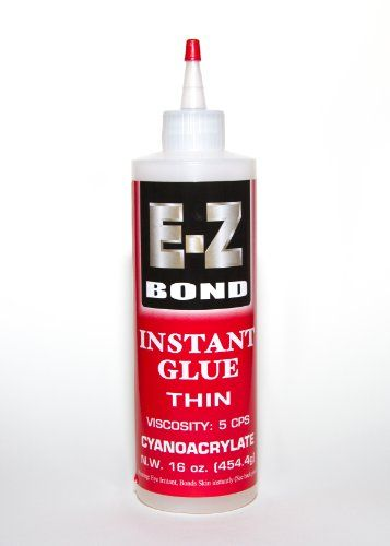 Premium Super Glue - Best Cyanoacrylate Adhesive - Strongest Bond on the Market - Doesn't Clog - Lifetime Guarantee - Perfect Wood and Shoe Glue - Less than a Minute Cure Time - Works Excellent with Metal, Plastic, Ceramics & More. 16 oz, 5 CPS E-Z Bond http://www.amazon.com/dp/B00BWFTWHY/ref=cm_sw_r_pi_dp_tppzvb0M07JB6
