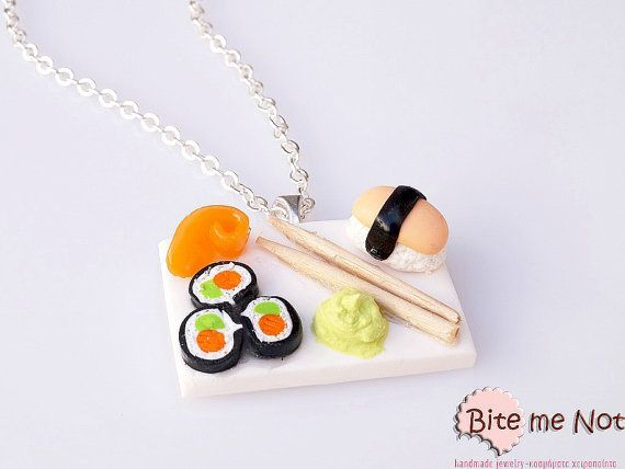 Sushi and Wasabi Sauce Necklace Mini Food Jewelry  by BiteMeNot