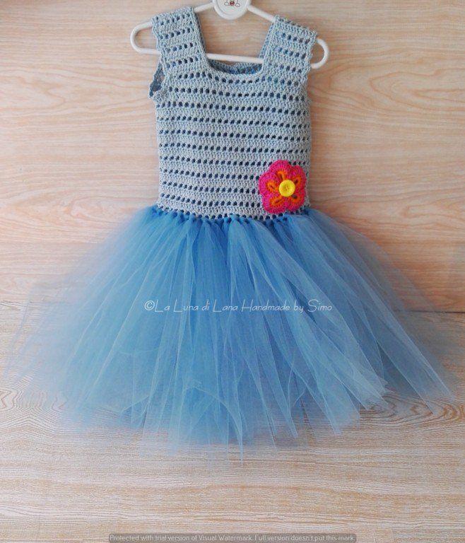 Abito bimba o neonata azzurro ad uncinetto e tulle abito tutù party, festa, primo compleanno, outfit