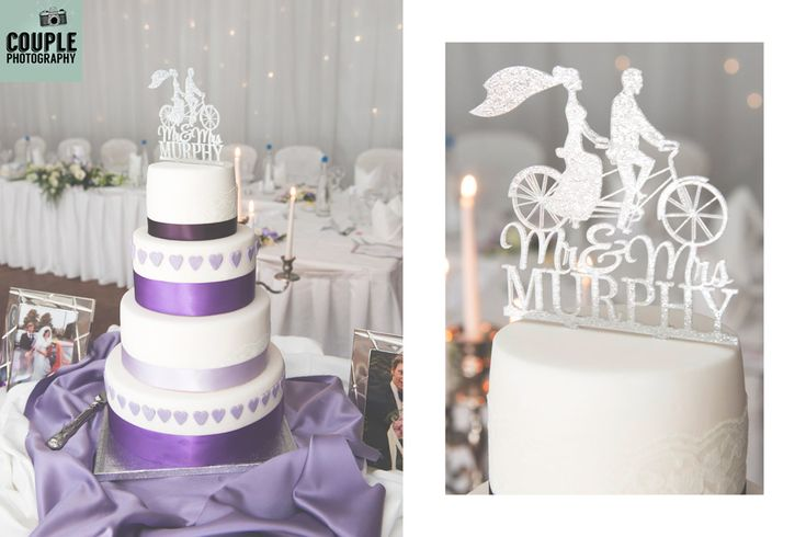 The gorgeous purple themed wedding cake. Weddings at The Radisson Galway photographed by Couple Photography.