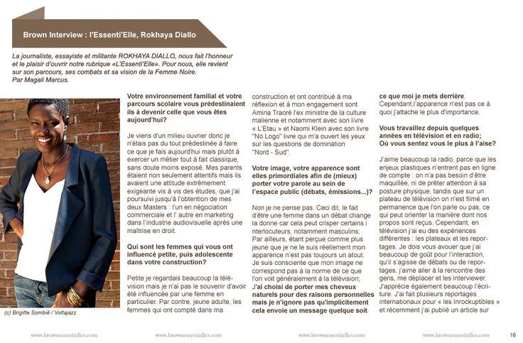 """#Brownmag le #emagazine de la #beautybox #BrownEssentielles.com disponible sur #pinterest Retrouvez l'itw de la personnalité dans la rubrique """"L'Essentielle"""" tous les 2 mois dans notre e-magazine complètement gratuit!"""
