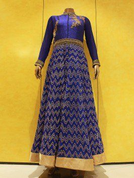 Royal Blue Silk Anarkali Suit With Handwork