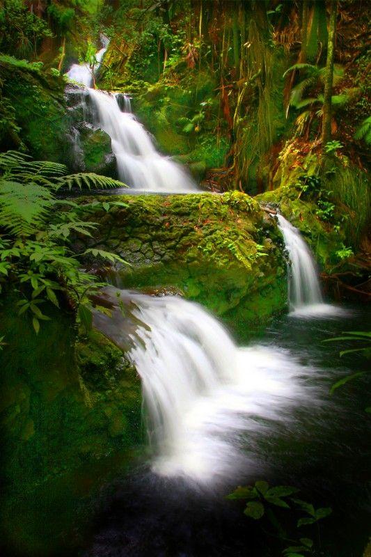 Series of waterfalls from the Hawaiian Tropical Botanical Gardens, The Big Island, Hawaii.