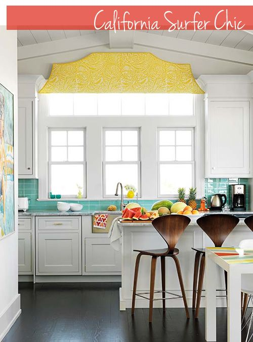 I love white with color: Decor, Window, Colors, Kitchens Ideas, Tile, Beaches Houses, Bar Stools, White Cabinets, White Kitchens