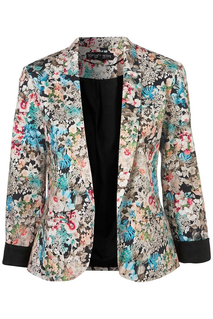 jacket: Topshop Jackets, Jackets Coats Blaz, Petite Co Ord, Co Ord Jackets, Jackets Topshop, Floral Blazer, Blazers, Products, Coord Jackets