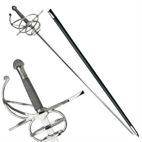 "44"" Renaissance Medieval Rapier Fencing Sword with Swept Hilt"
