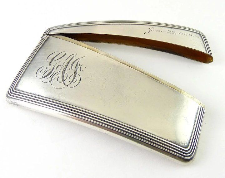 Antique Sterling Silver Curved Business Card Case Holder Business Card Case Sterling Silver