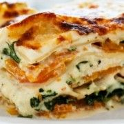 Super-Fast Spinach, Pesto and Cheese Lasagna Recipe | Epicurious.com--Follow comment's suggestions: add a couple cloves garlic, fresh spinach, tomatoes on top. Serve with garlic bread and salad.