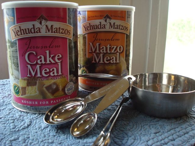 An explanation of the difference between Passover cake meal and matzo meal, and how to substitute one for the other.