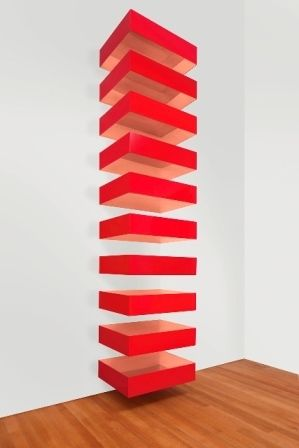 """Donald Judd, """"Untitled, 1989 (Bernstein 89 24)"""", 1989, copper and red Plexiglas, ten elements, each: 9 x 40 x 31 in."""