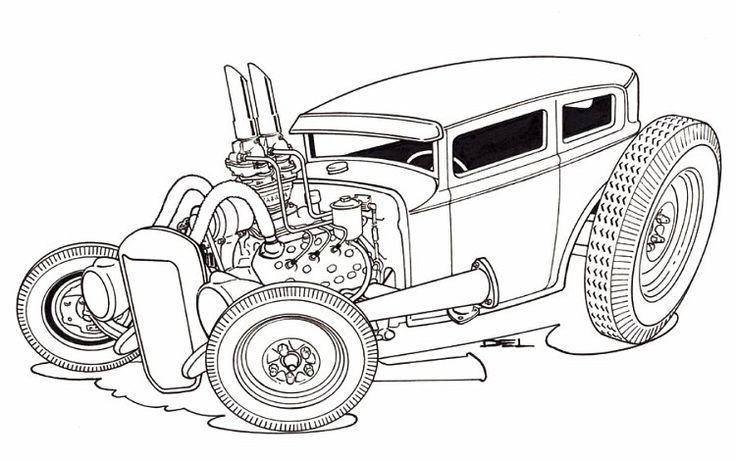 Rat Fink Style Art | Photo: Chris-A-sedan-line-drawing.jpg | Rat Fink, Tiki, Car and ...
