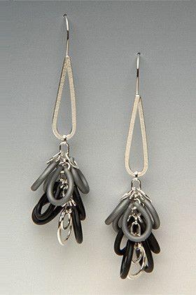 Glamour Shag Silver and Neoprene Rubber Earrings