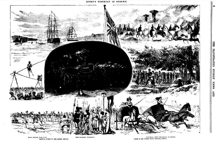 Queens Birthday celebration 1878 in Sydney, showing (bottom right) a chariot race in the Sir Joseph Banks Pleasure Grounds