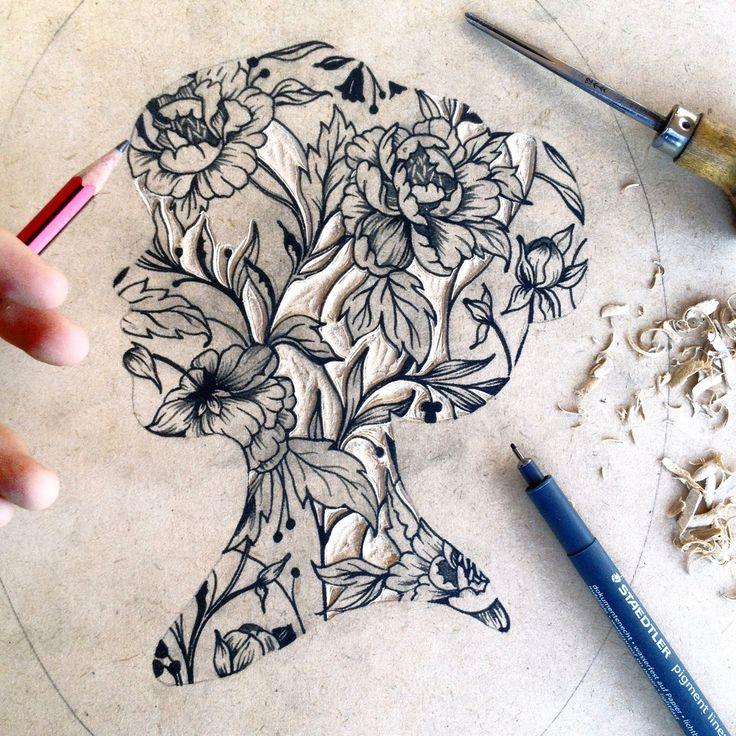 Gorgeous. Using floral patterns to form a separate shape