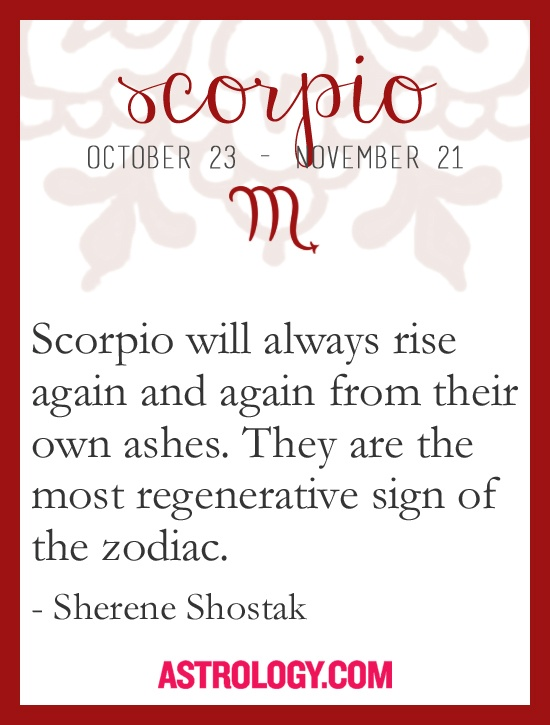 #Scorpio will always rise again and again from their own ashes. They are the most regenerative sign of the zodiac. -- Sherene Shostak, Astrology.com #horoscope #astrology