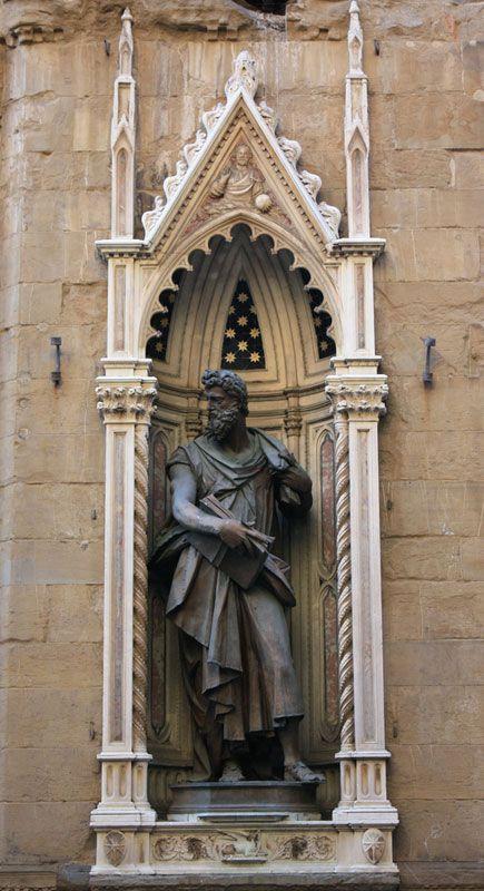 orsanmichele. (Гильдия магистратуры и нотариусов). Святой Лука. 1601 Джамболона.