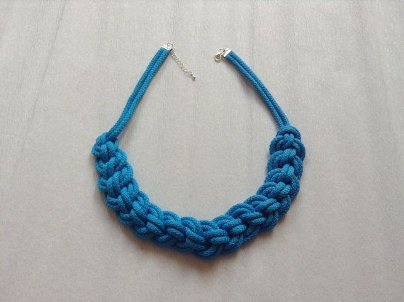 Cotton necklace. Knot necklace. turquoise necklace. by Kreseme