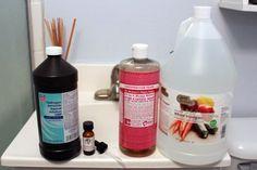 homemade shower spray; hydrogen peroxide, vinegar, castile soap, essential oil