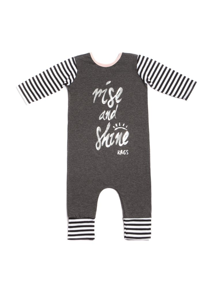 3 4 Sleeved   39 Rise and Shine  39  Romper   Charcoal