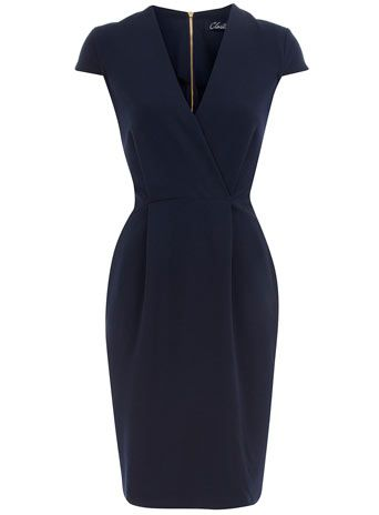 Navy cap sleeve dress Price: $79.00 Color: blue Item code: 60000885 Navy cross-over dress with cap sleeves. Length 95cm. 63% Polyester,33% Viscose,4% Elastane. Machine washable.