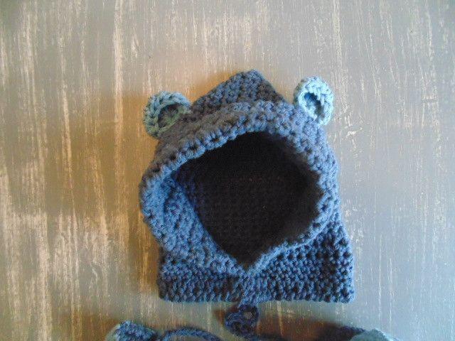 Baby mutsen - Gehaakte beer hoodie handschoenen en schoentjes - Een uniek product van MCeehandwerk op DaWanda