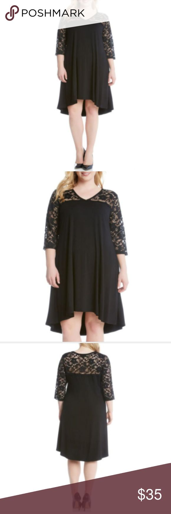 NWT Karen Kane Black Lace Dress Plus Size 1X Karen Kane Lace Yoke Trapeze Dress Plus Size 1X NWT Black MSRP $87 Romance made easy: A soft and comfortable jersey dress frames the face with sheer floral lace while the swingy, elliptical cut moves gracefully with every step. Slips on over head V-neck Sheer three-quarter sleeves Unlined Made in the USA Karen Kane Dresses
