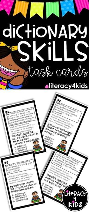 24 Dictionary Skills Task Cards for Grades 3-5