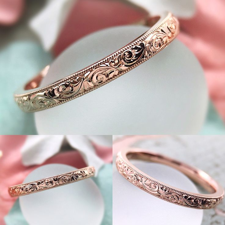 """The """"Papillon"""" Vintage Inspired Custom Hand Carved 2mm Band"""