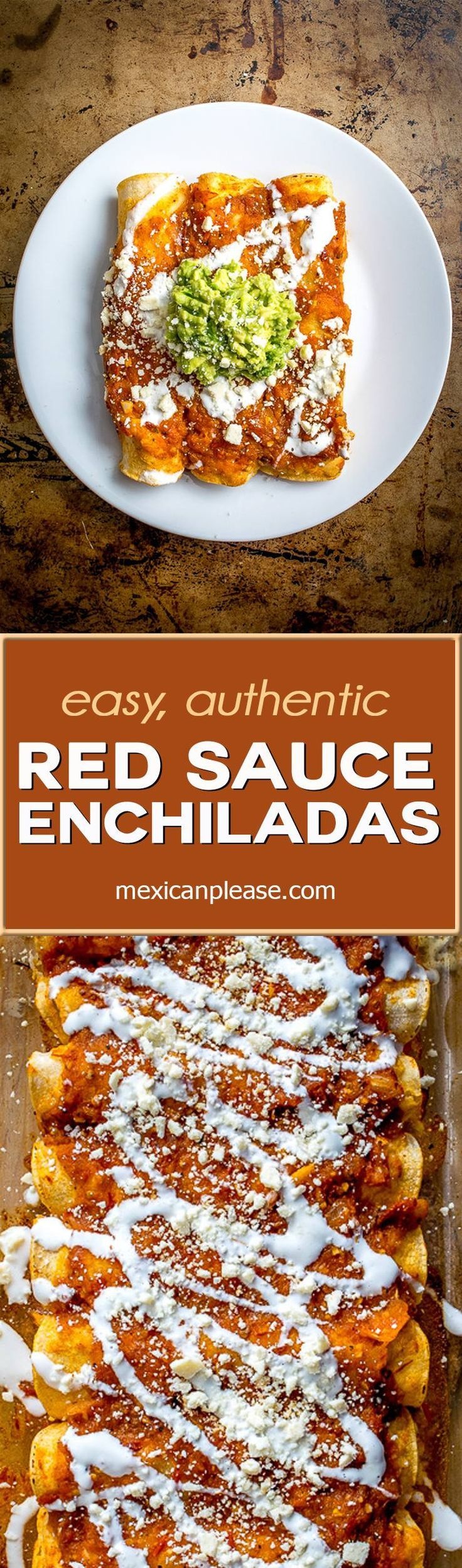 This is my go-to recipe for red sauce enchiladas.  Fast, incredible flavor, and stress free to make.  Sound too good to be true?  http://mexicanplease.com