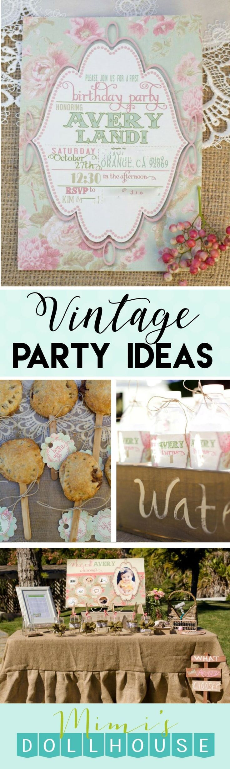 Vintage Birthday: Avery's Sweet 1st Birthday. There is nothing sweeter than a vintage birthday theme for a pretty little girl. Today I'm sharing a Vintage Birthday Party for a one year old sweetie pie. Be sure to check out all ofmyVintage party ideas and inspiration.