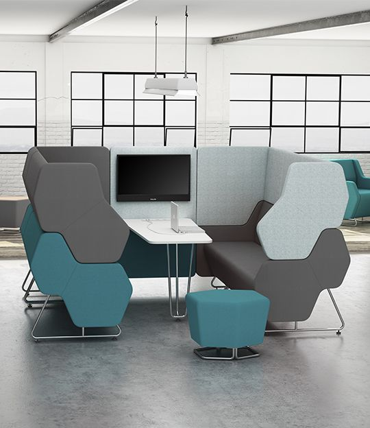 The Hexa modular seating system can be can be used to create a unique system that will work almost every kind of workspace, complementing the function and aesthetics of an interior. It helps create a hub which ensures acoustic isolation when seated within a pod. This ensures private meetings and a better flow of information and exchange of ideas. #Hexa #MacStopa #MakeYourSpace #CDW2017