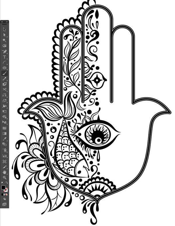Half Design Pattern Reflect Tool Stroke Weight Difference Group G Illustrator Hand Of Mariam Fatima Khamsa Hamesh Sketch Illustration Miss Chatz