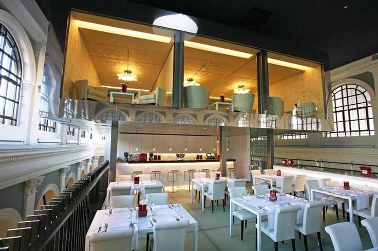 I love the upstairs gallery.  Restaurant in Hamburg, Germany designed by Behnisch Architekten.
