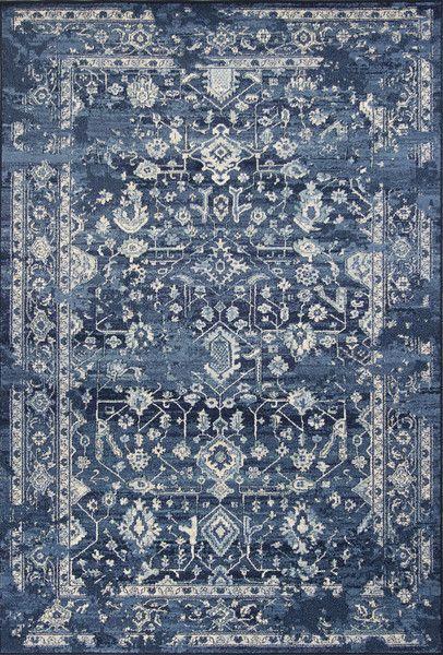 KAS Home Vintage 1310 Azure Blue Marrakesh Machine Woven Area Rug by Bob Mackie