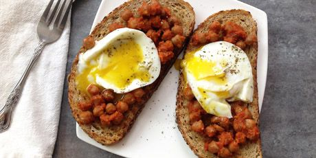 Smoky Chickpeas on Grilled Toast with Poached Eggs